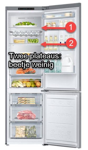 2 plateaus - indeling koelkast