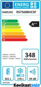 Het energieverbruik van de Samsung RS7568BHCSP