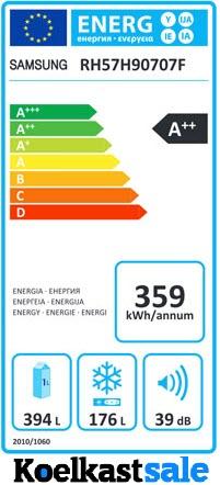 Laag energieverbruik van de Samsung RH57H90707F - A++ energielabel