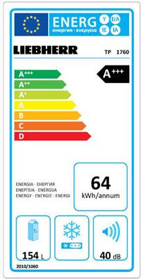 Laag energieverbruik door A+++ label van de Liebherr TP1760-22
