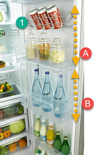 De koelkast kun naar eigen behoefte indelen