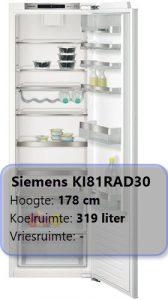 Siemens KI81RAD30 inbouw 178 cm