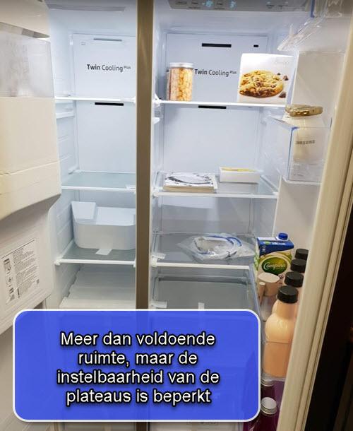Plateaus van de koelkast zijn beperkt instelbaar
