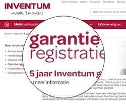 extra lange garantie van 5 jaar via Inventum