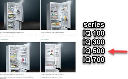 Siemens iq500 koelkast - verschillen met andere iq-series